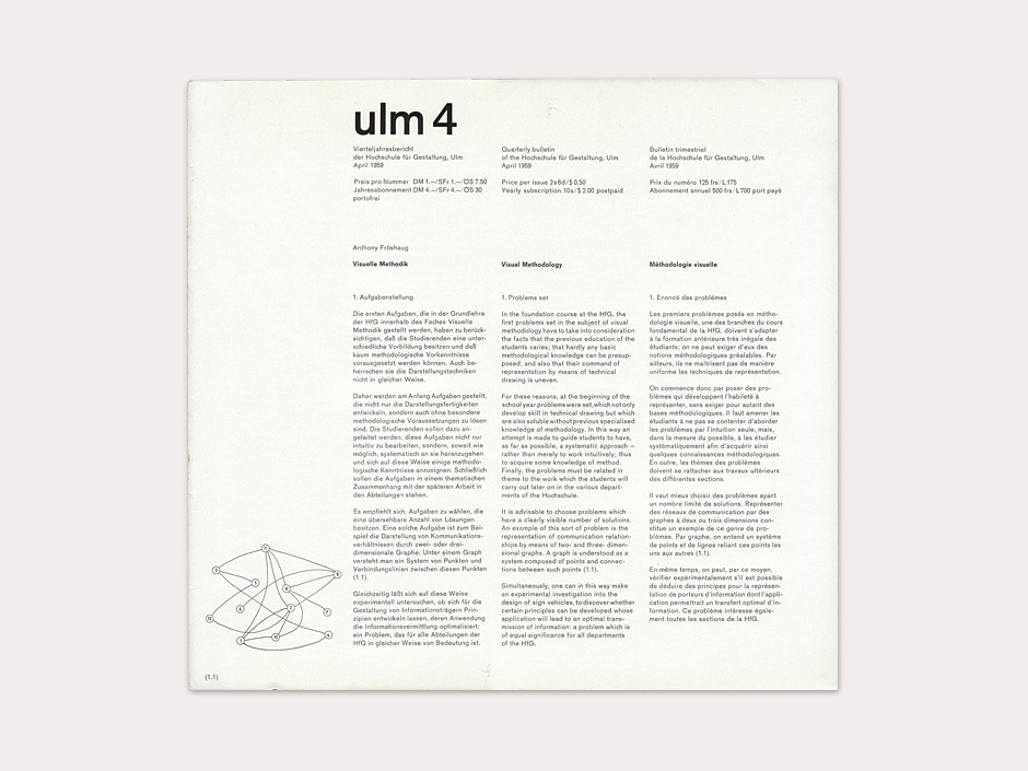 Display | Journal of the Hochschule fur Gestaltung ulm 4 | Collection