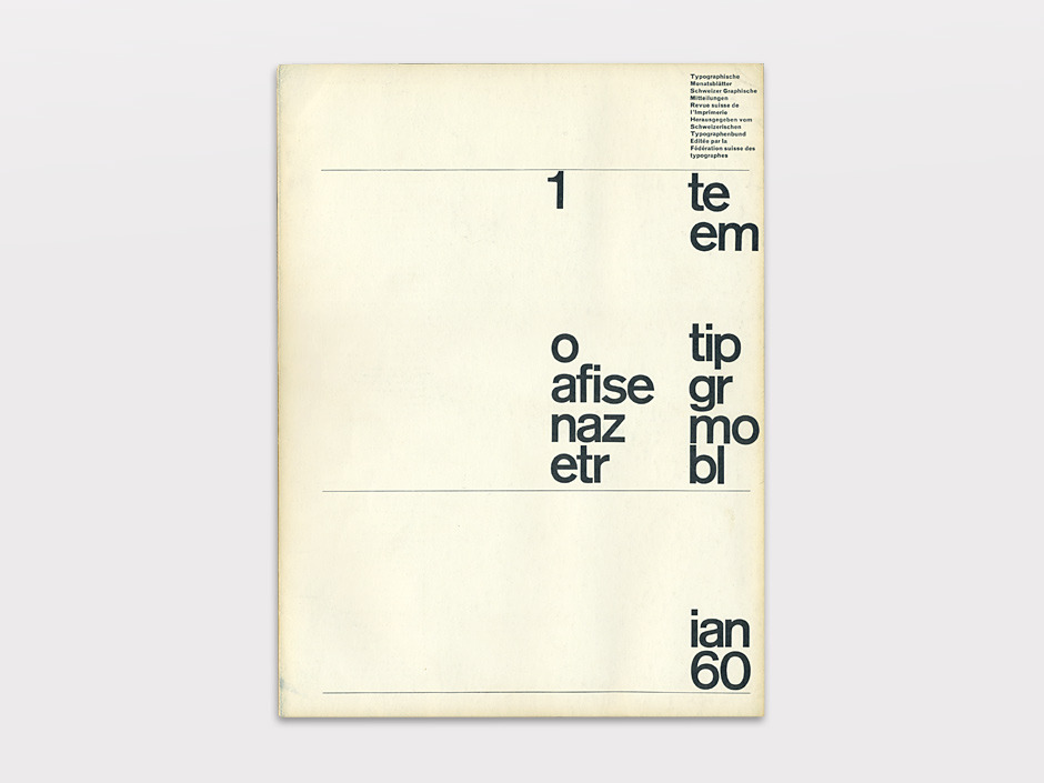 Display | Typographische Monatsblatter 1960 Number 1 January | Collection