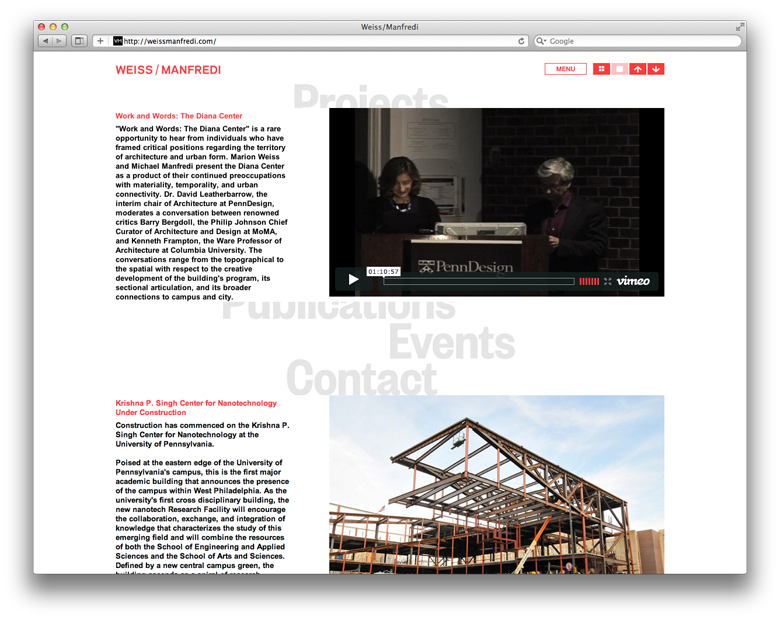 Project Projects — Weiss / Manfredi Website