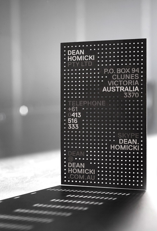 Dean Homicki business card | Design by Pidgeon