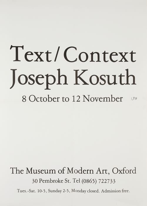 Modern Art Oxford 50:50 | 39. Joseph Kosuth Text/Context