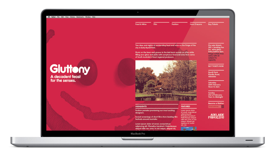 Gluttony Food & Wine Festival: sector7g   communication with style   brand design, packaging design, communication graphics & environmental graphics   Adelaide, South Australia