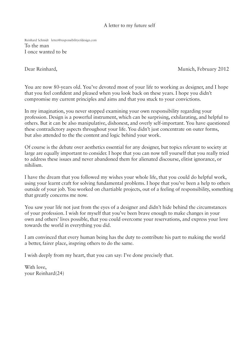 A Letter to my future self : reinhard-schmidt.com