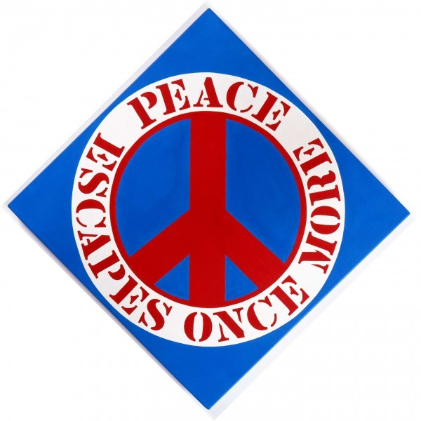 PEACE ESCAPES ONCE MORE   Robert Indiana   Pre-eminent figure of American art and pioneer of assemblage art, hard-edge abstraction, and pop art