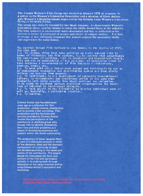 Fraser Muggeridge studio: Working Together: Note on British Film Collectives in the 1970s, Focal Point Gallery 2013