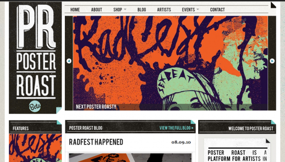 Poster Roast - Web design inspiration from siteInspire