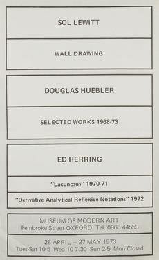 Modern Art Oxford 50:50 | 29. Sol Lewitt, Douglas Heubler, Ed Herring