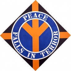 PEACE FALLS IN TERROR | Robert Indiana | Pre-eminent figure of American art and pioneer of assemblage art, hard-edge abstraction, and pop art